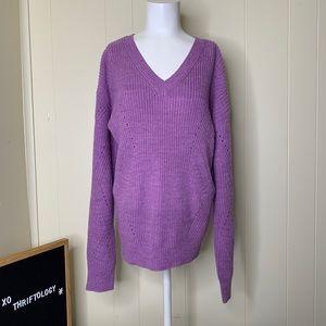 Purple Sparkle V-Neck Cable Knit Sweater Large